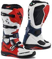 STIVALI BOOTS MOTO MX CROSS ENDURO TCX COMP EVO MICHELIN WHITE RED BLU TG 46