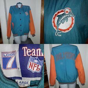 Vintage Miami Dolphins Varsity Jacket Youth womens  Size 14 /16  1970's 46 x 28