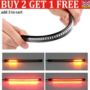 48LED Motorcycle Light Strip Rear Tail Brake Stop Turn Signal Lamp Bar Flexible-