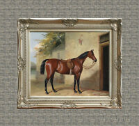 Old Master Art Antique Horse Oil Painting Portrait Animal Waiting 30x40