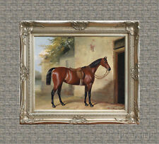 Old Master Art Antique Oil Painting Portrait Animal Wildlife Horse Waiting 30x40