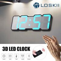 Loskii 115 Color LED 3D Digital Desk Wall Clock Thermometer Remote/Vioce  New
