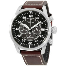 Citizen Avion Black Dial Leather Strap Men's Watch CA421024E