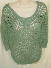 Theory Fishnet Pullover Sweater Petite Olive 3/4 Sleeve Cotton Knit