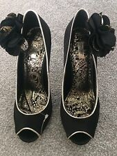 NEW NEXT BLACK/GOLD SMART FLORAL SATIN STYLE STILETTO/SANDAL-WEDDING! 6 RRP£45