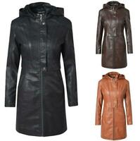 Womens Long Hooded Leather Overcoat Zipper Hoodies Trench Motorcycle Coat Winter