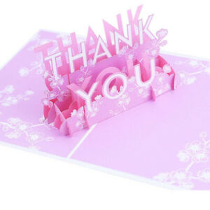 3D Pop Up THANK YOU Card ❣️ Special Card Brand New UK Stock FLOWERS PINK ❣️