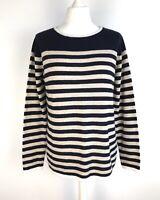 Benedetta B Merino Cashmere blend breton stripe Jumper Size L 12 14 preppy soft