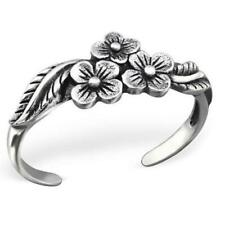 Sterling 925 Silver Toe Ring - Three Flowers Design