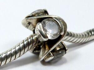 AUTHENTIC CHAMILIA CHAM 925 SILVER CLEAR GEM SET SPACER CHARM BEAD Bracelet