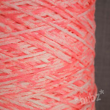 WHITE & NEON PINK 4 PLY YARN 500g CONE 10 BALL TAPE CHAINETTE RIBBON FETTUCCINA