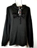 Levi's Women's Fall Black Long Sleeve Logo Hoodie Sweatshirt Top NWT