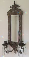 "Antique Victorian 23"" DOLPHIN MIRROR SCONCE Brass 2-Candle Beveled Glass Prisms"