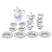 15 Piece Miniature Dollhouse Dinnerware Porcelain Tea Set Tableware Mug Pla E6P7