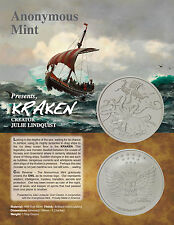 1 OZ SILVER COIN *KRAKEN* PIRATE .999  SILVER VIKING NORSE COIN ANONYMOUS MINT
