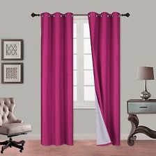 2PC NOA Foam Lined 100% Heavy Thick Blackout Grommet Window Curtain Panels 84""