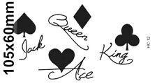 Flash Einmal Temporary Klebe Tattoo Kartensymbole Queen Körper Party Geschenk