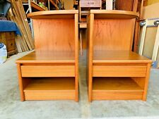 Beautiful Mid Century Danish Modern Nightstands Bedside End Tables W/ Drawer