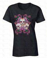 Sugar Skulls Flowers WOMEN T-SHIRT Day Of Dead Dia De Los Muertos Ladies Shirt