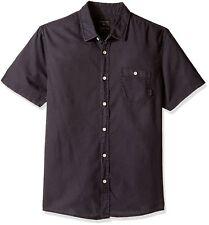 QUIKSILVER NEW Men's 100% Cotton Time Box Woven Top Shirt Medium Deep Grey