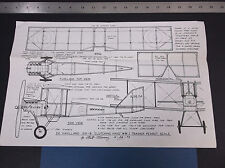 VINTAGE DE HAVILLAND WWI TRAINER PEANUT SCALE AIRPLANE DRAWINGS PLANS  *VG-COND*