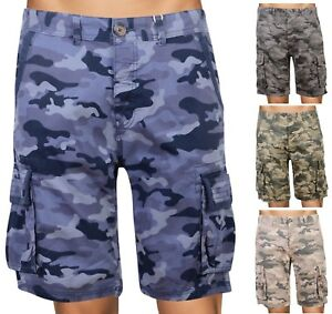 Mens Camouflage Shorts Camo Combat Cargo Multi Pockets Short Trousers New
