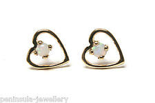 9ct Gold Opal heart Stud earrings Gift Boxed Studs Made in UK