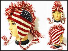 Mohawk  american flag handmade Hat cap Wool W Fleece lining MultiColor One Size