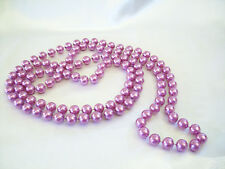 "Pearly Purple Violet Lavender Bead Long Necklace 54"" Sautoir Pearl Vintage"