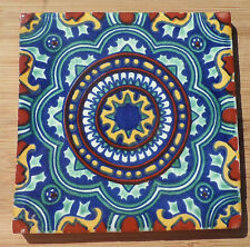 "4~Talavera Mexican tile pottery hand painted 6"" hand made AQUA BLUE SWIRL"