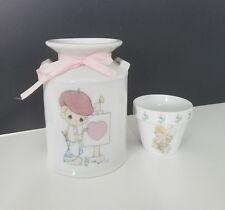 """PRECIOUS MOMENTS MILK CAN """"You Are My Masterpiece"""" & Small Flower Pot"""