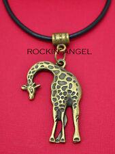 Vintage Bronce PLT Jirafa colgante collar Damas regalo Zoología Animales de Vida Silvestre