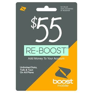 Boost Mobile - Re-Boost $55 Prepaid Phone Card Refilled directly to your mobile