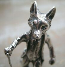 Hallmarked Sterling Silver Mr Tod Fox In Hunting Jacket With Walking Stick