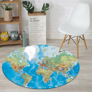World Map Modern Round Area Rug Carpet Bedroom Livingroom Non Slip Floor Mat