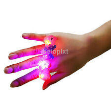 New 10pcs/lot Cute Kids LED Lights Up Flashing Finger Rings Atmosphere Lights FR
