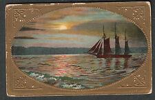 1909 Night Scene On The Hudson River post card Smiths Basin NY to 255 W 68 St NY