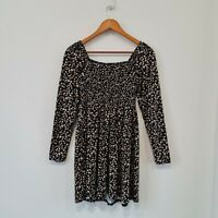 New Look Womens Black Floral Smock Dress Size US 6/ UK 10 (165/88A) Long Sleeve