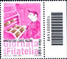 2012 Italia Repubblica Codice a Barre Giornata Filatelia Striscia destro