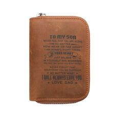 Leather Engraved Wallet Dad Mom to son Daughter Gift Credit Card Holder Zipper