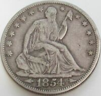 1854 Seated Liberty Silver Half in a SAFLIP® - VF