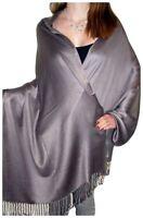 Plain coloured shiny silk blend style shawl wrap throw seconds