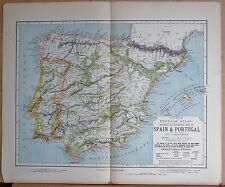 1883  ANTIQUE MAP SPAIN & PORTUGAL, RAILWAY AND STATISTICAL MAP