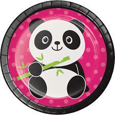 Panda-monium Dessert Plates [8ct] Panda Bear Birthday Party Cake Table Supplies