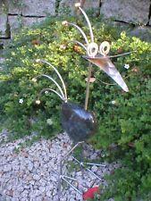 Schwarzer Vogel aus Edelstahl und Beach-Peblesstein 50 cm hoch