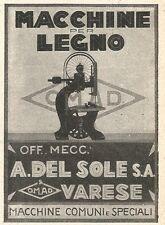 Z2405 Macchine per legno A. Del Sole - Varese - Pubblicità 1929 - Vintage advert