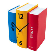 3 Colored Battery Operated Book Design Modern Shelf Table Clock