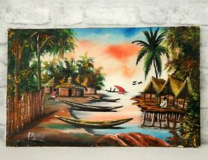 Vintage Retro Mid Century African Tribal Painting Sunset Oil on Canvas Kitsch