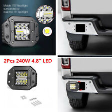 Flush Mount 2Pcs 5Inch 240W LED Flood Work Light Pods Offroad Driving Fog Lamps