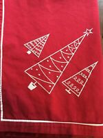"Seasons of Cannon Falls Red Holiday Christmas Tablecloth 52"" x 65"" Embroidered"